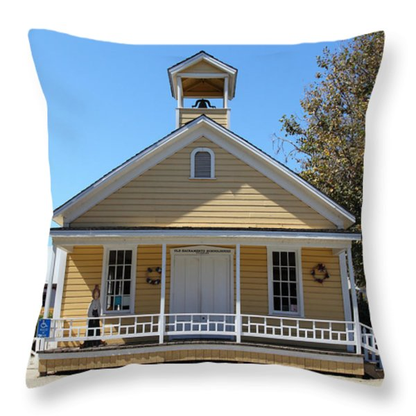 Old Sacramento California Schoolhouse 5d25543 Throw Pillow by Wingsdomain Art and Photography