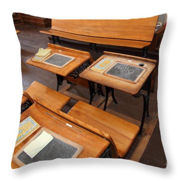 Old Sacramento California Schoolhouse Classroom 5d25778 Throw Pillow by Wingsdomain Art and Photography