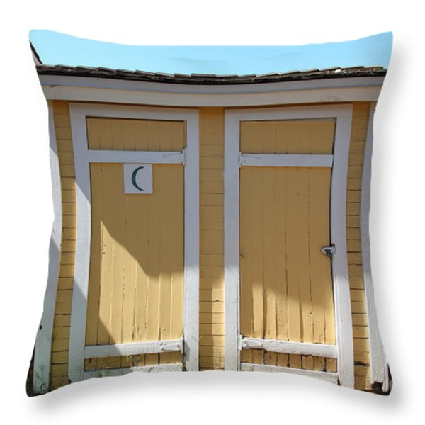 Old Sacramento California Schoolhouse Outhouse 5d25549 Throw Pillow by Wingsdomain Art and Photography
