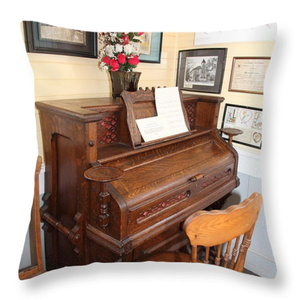 Old Sacramento California Schoolhouse Piano 5d25783 Throw Pillow by Wingsdomain Art and Photography