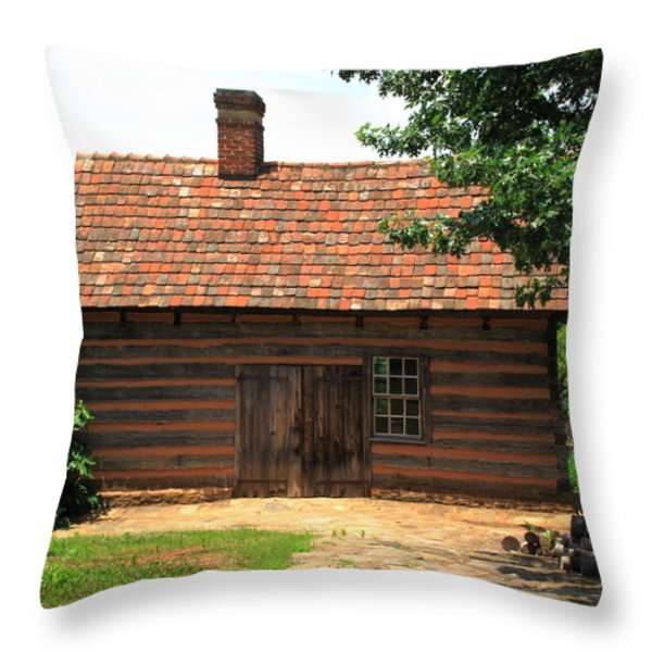 Old Salem Cottage Throw Pillow by Frank Romeo