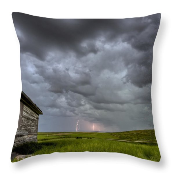 Old School House And Lightning Throw Pillow by Mark Duffy