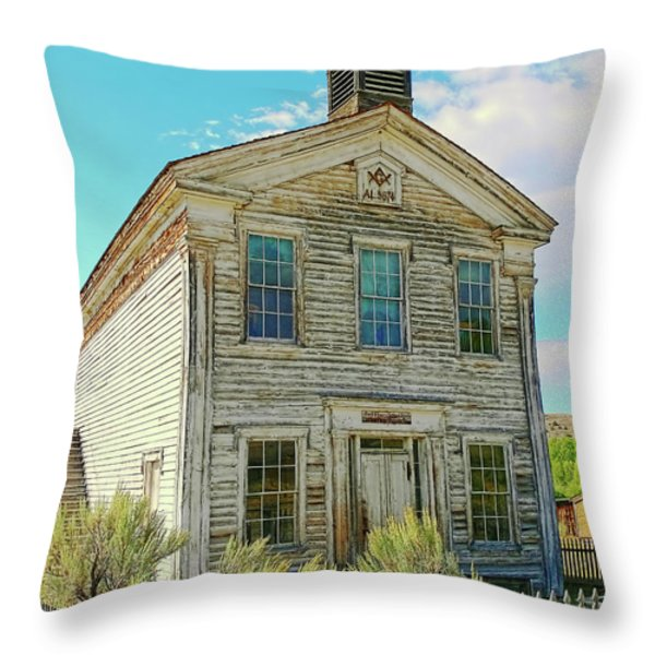 Old School House Bannack Ghost Town Montana Throw Pillow by Jennie Marie Schell