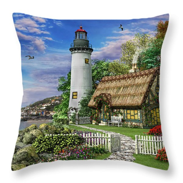 Old Sea Cottage Throw Pillow by Dominic Davison