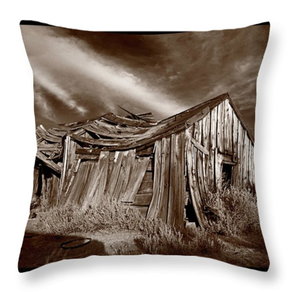 Old Shack Bodie Ghost Town Throw Pillow by Steve Gadomski