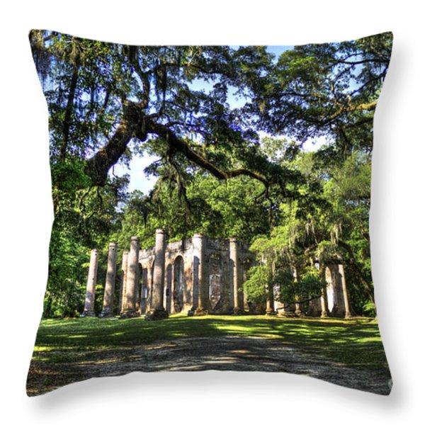 Old Sheldon Church Ruins Near Beaufort Sc Throw Pillow by Reid Callaway