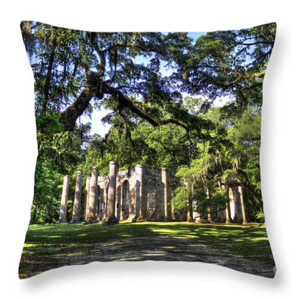 Old Sheldon Church Ruins near Beaufort SC Throw Pillow by Reid Callaway