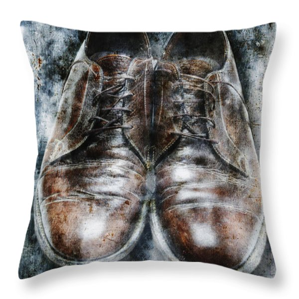 Old Shoes Frozen In Ice Throw Pillow by Skip Nall