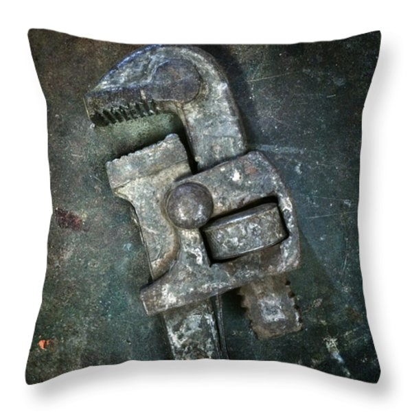 Old Spanner Throw Pillow by Carlos Caetano