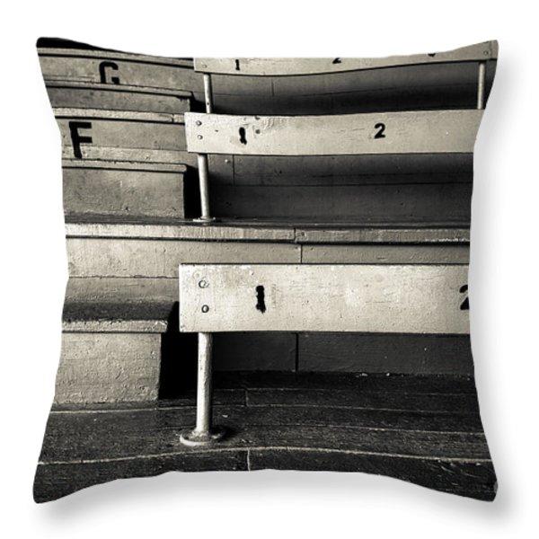 Old Stadium Bleachers Throw Pillow by Diane Diederich