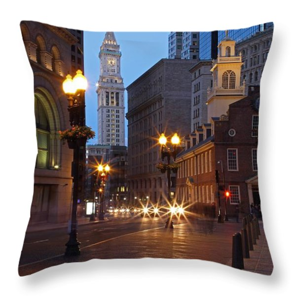 Old State House and Custom House in Boston Throw Pillow by Juergen Roth
