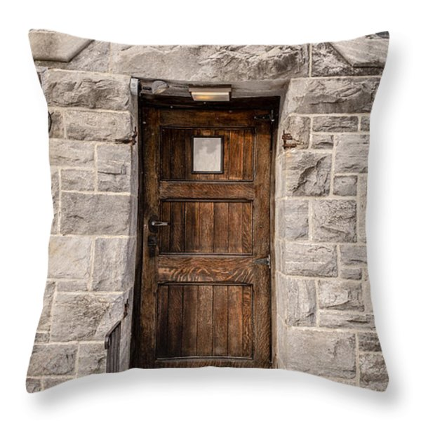 Old Stone Church Door Throw Pillow by Edward Fielding