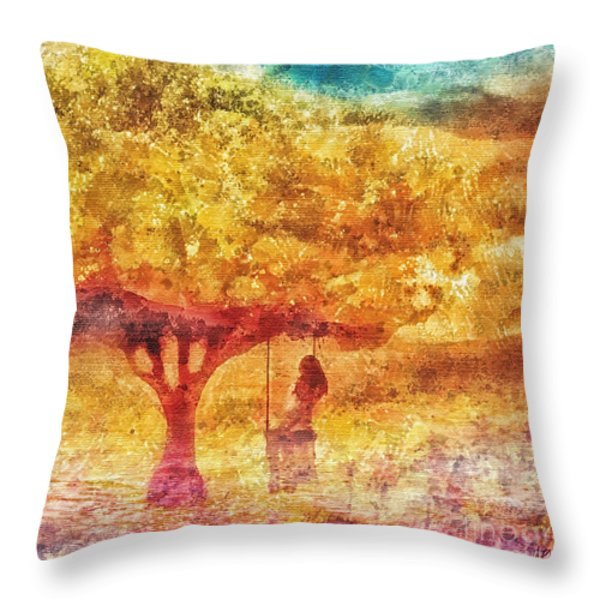 Old Swing Throw Pillow by Mo T