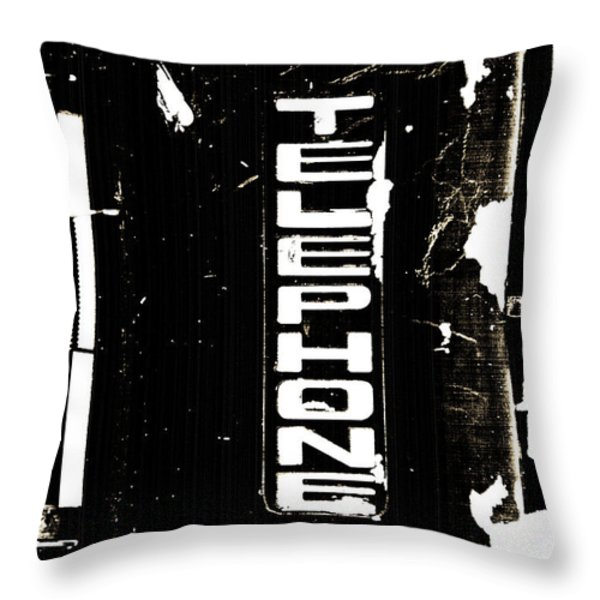 Old Telephone Sign Throw Pillow by Anahi DeCanio