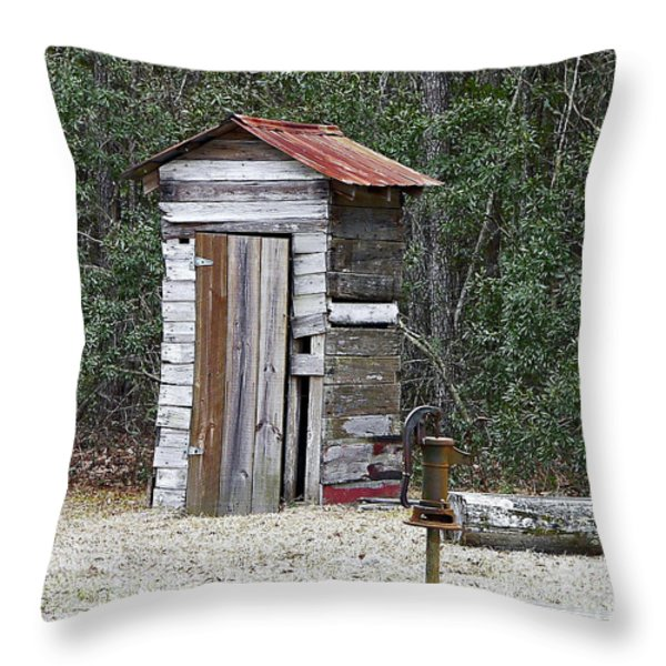 Old Time Outhouse And Pitcher Pump Throw Pillow by Al Powell Photography USA