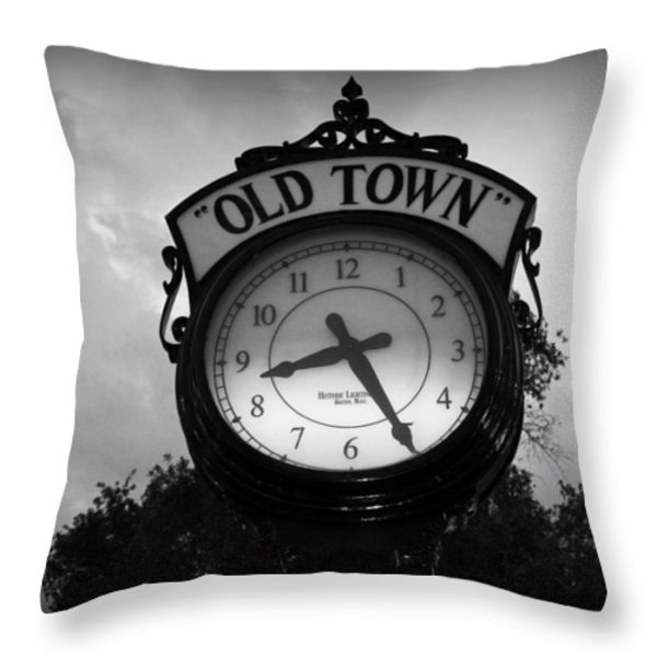 Old Town Clock Throw Pillow by Laurie Perry