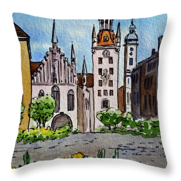Old Town Hall Munich Germany Throw Pillow by Irina Sztukowski
