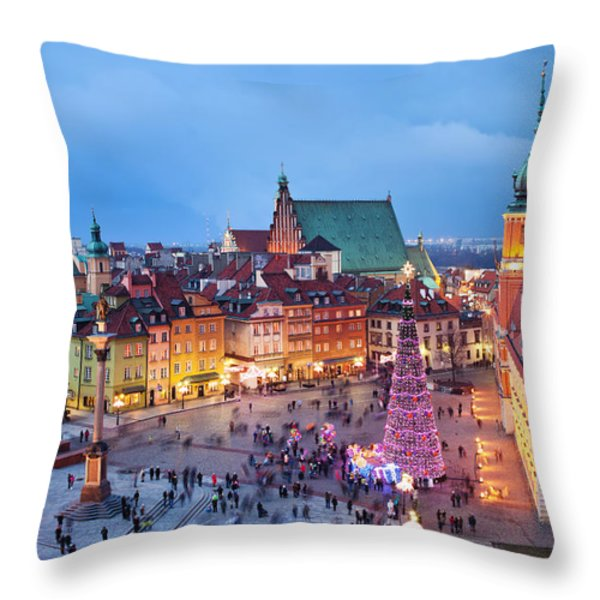 Old Town In Warsaw At Evening Throw Pillow by Artur Bogacki