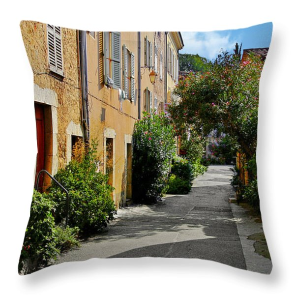 Old town of Valbonne France  Throw Pillow by Christine Till