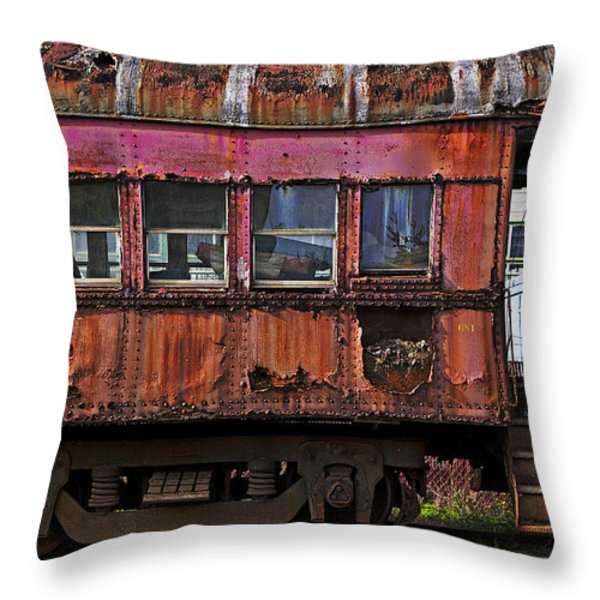 Old Train Car Throw Pillow by Garry Gay