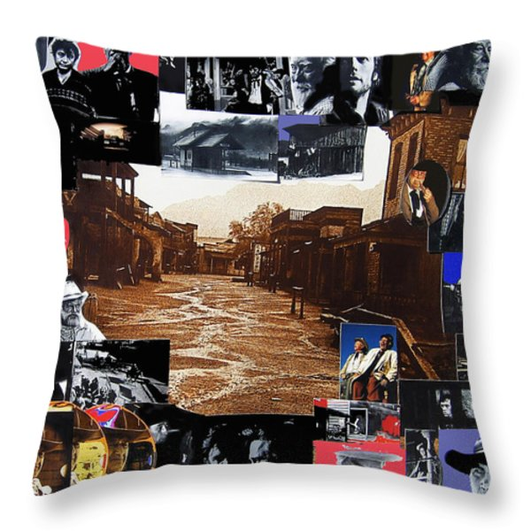 Old Tucson Arizona composite of artists performing there 1967-2012 Throw Pillow by David Lee Guss
