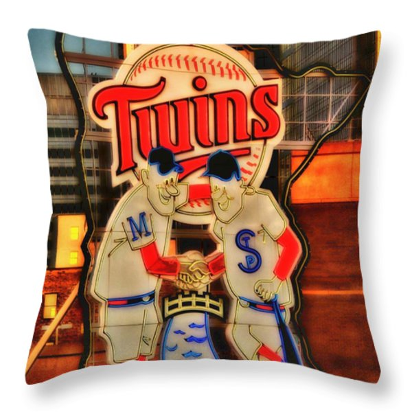 Old Twins Sign Throw Pillow by Todd and candice Dailey