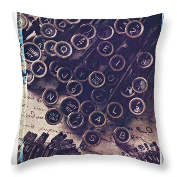 Old typewriter keys Throw Pillow by Garry Gay