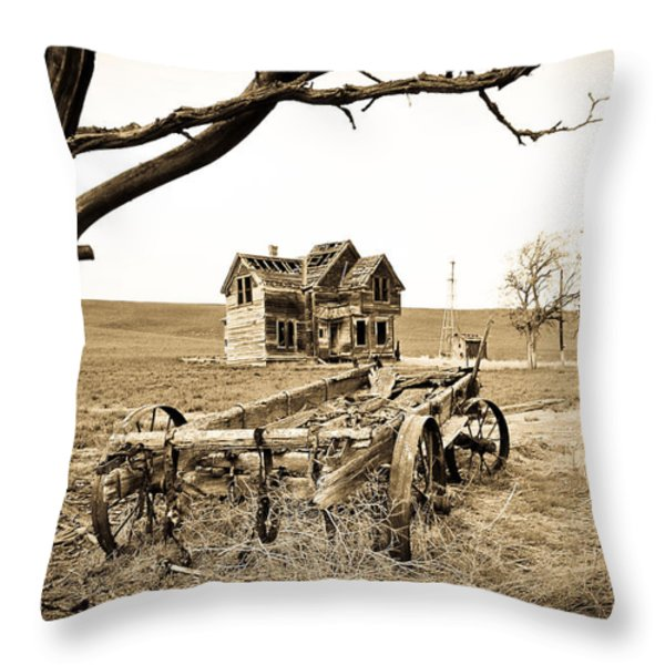 Old Wagon And Homestead Throw Pillow by Athena Mckinzie