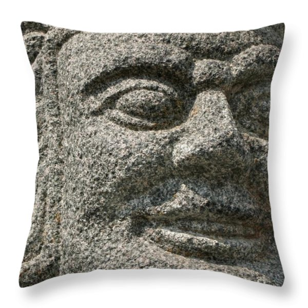 Old Warrior Sculpture Throw Pillow by Yali Shi