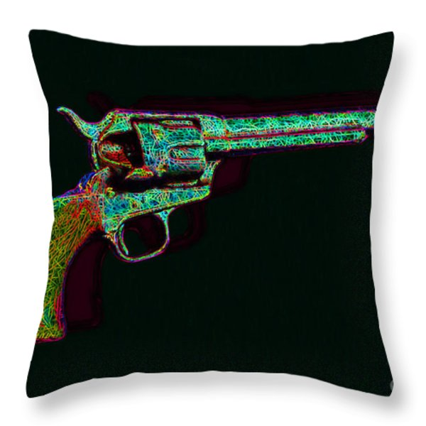 Old Western Pistol - 20130121 - V1 Throw Pillow by Wingsdomain Art and Photography