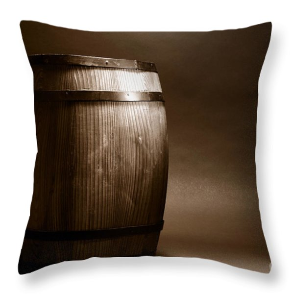 Old Whisky Barrel Throw Pillow by Olivier Le Queinec