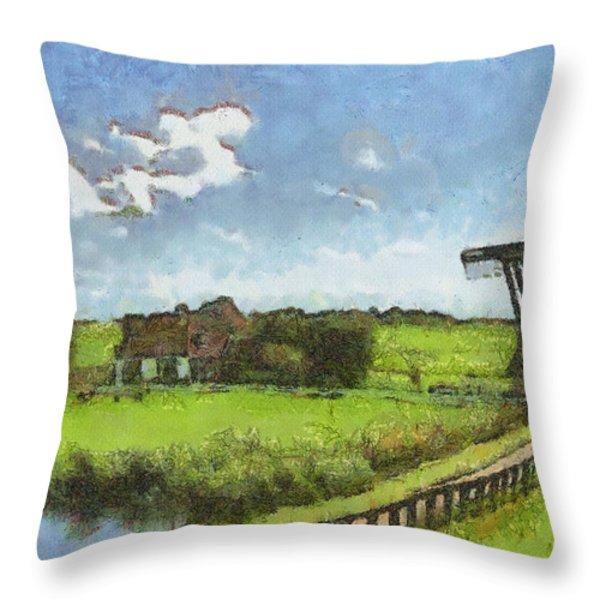 Old Windmill Throw Pillow by Ayse Deniz
