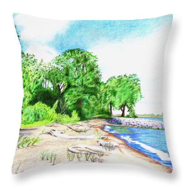 Old Woman Creek - Huron Ohio Throw Pillow by Shawna  Rowe