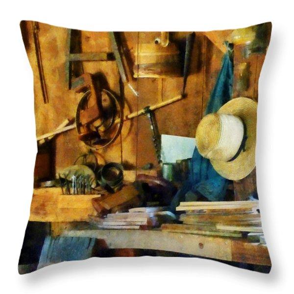 Old Wood Shop Throw Pillow by Susan Savad