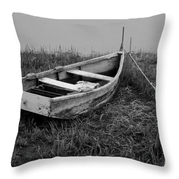 Old Wooden Rowboat II Throw Pillow by Dave Gordon