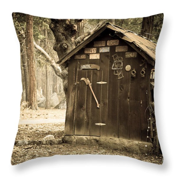 Old wooden shed Yosemite Throw Pillow by Jane Rix