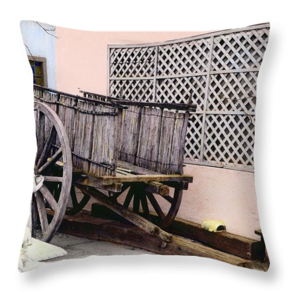 Old Wooden Wagon Throw Pillow by Marilyn Hunt