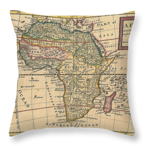 Old World Map Of Africa Throw Pillow by Inspired Nature Photography By Shelley Myke