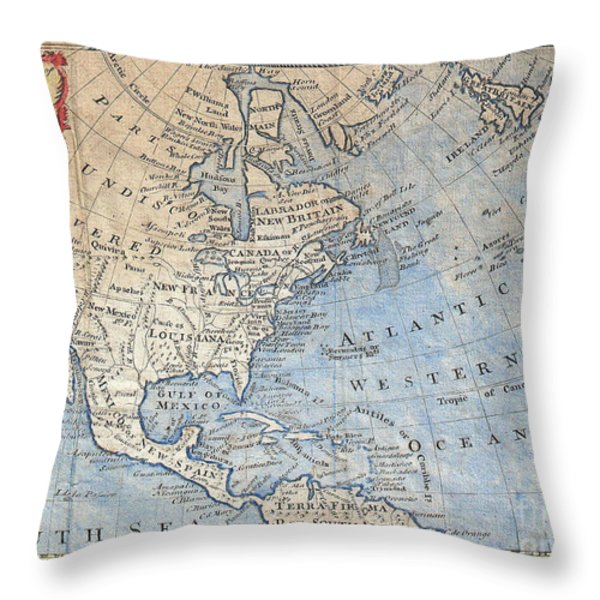 Old World Map Of North America Throw Pillow by Inspired Nature Photography By Shelley Myke