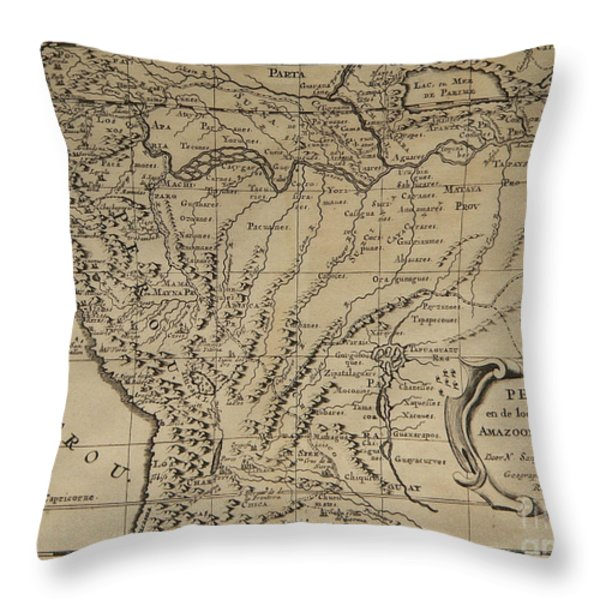 Old World Map Of Peru Throw Pillow by Inspired Nature Photography By Shelley Myke