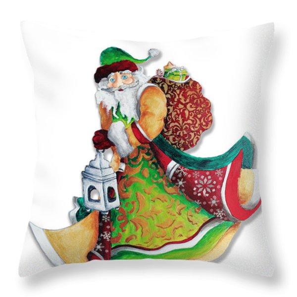 Old World Santa Christmas Art Original Painting by Megan Duncanson Throw Pillow by Megan Duncanson