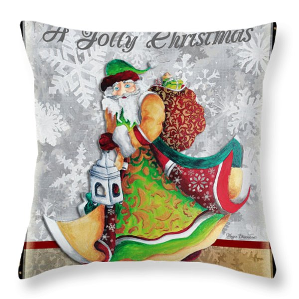 Old World Santa Clause Christmas Art Original Painting By Megan Duncanson Throw Pillow by Megan Duncanson