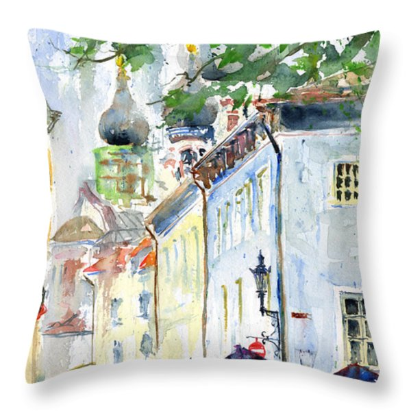 Oldtown Tallinn Estonian Throw Pillow by John D Benson
