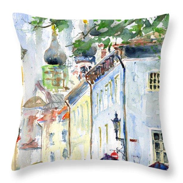 Oldtown Tallinn Estonian Throw Pillow by John D Benson