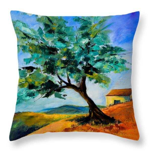 Olive Tree on the Hill Throw Pillow by Elise Palmigiani