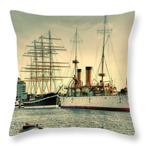 Olympia And Moshulu Throw Pillow by Olivier Le Queinec