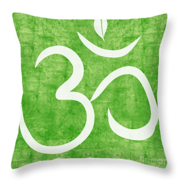 Om Green Throw Pillow by Linda Woods