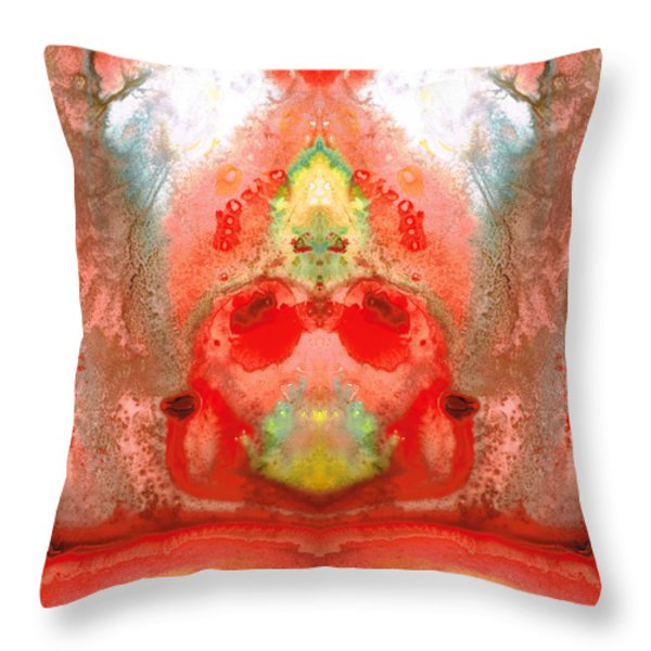Om - Red Meditation - Abstract Art By Sharon Cummings Throw Pillow by Sharon Cummings