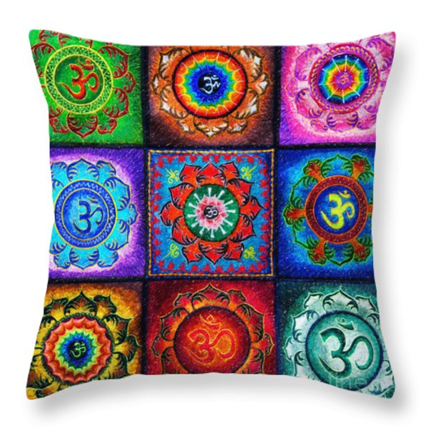 Om Squared Throw Pillow by Tim Gainey