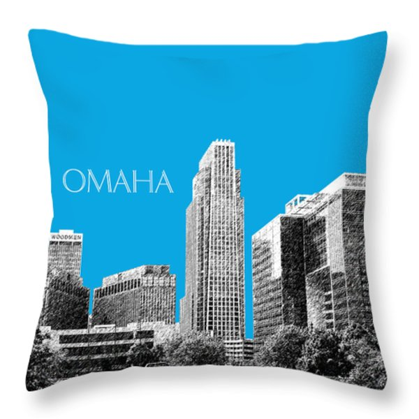 Omaha Skyline - Ice Blue Throw Pillow by DB Artist